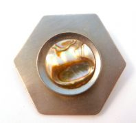 Vintage Stainless Steel And Abalone Shell Brooch By Lythos.